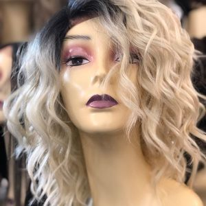 Short ombré blonde bob Lacefront wig curly